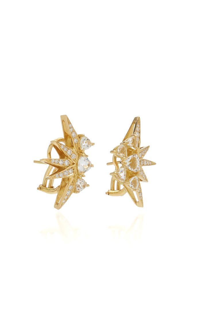 Electra Mini 18K Yellow Gold Topaz, Diamond Earrings
