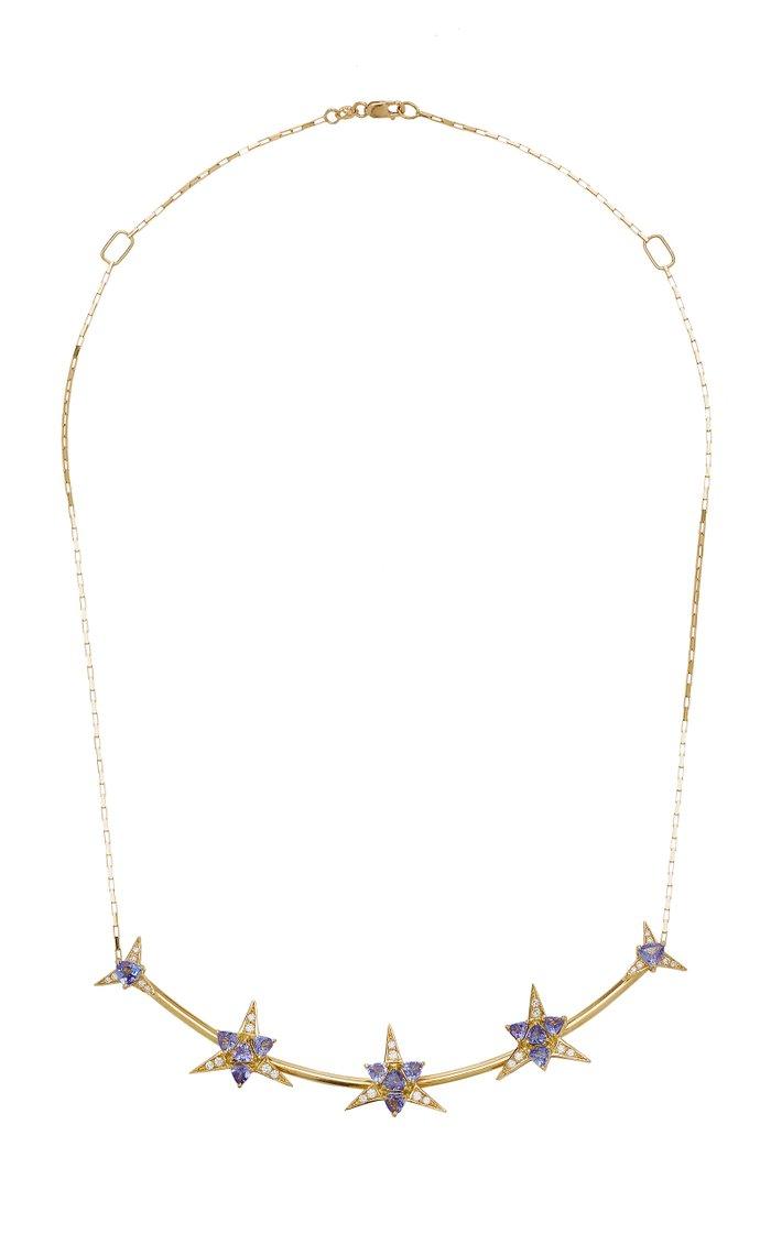 Galactic Star 18K Yellow Gold Tanzanite, Diamond Necklace