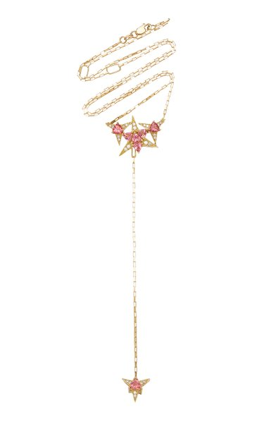 Galactic Star 18K Yellow Gold Tourmaline, Diamond Necklace