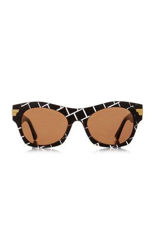 Square-Frame Intrecciato Acetate Sunglasses