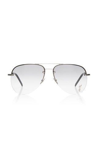 Logo-Detailed Aviator-Frame Metal Sunglasses