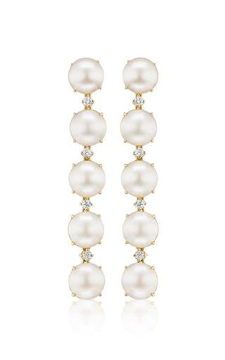 Confetti 18K Yellow Gold Pearl, Diamond Earrings