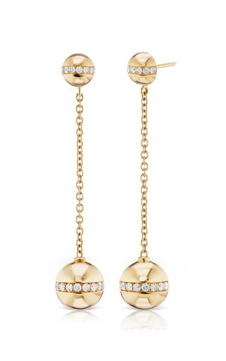 Halo 18K Yellow Gold Diamond Earrings