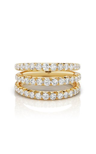 Étoile Stacked 18K Yellow Gold Diamond Ring