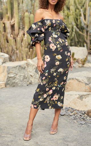 Floral -Printed Linen Dress