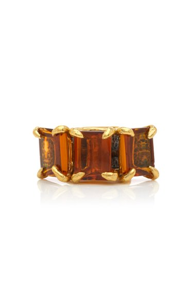 Citrine Snow Feather Ring