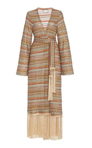 Genista Fringed Chevron-Knit Robe