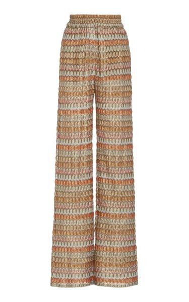 Xavier Chevron-Knit Wide-Leg Pants
