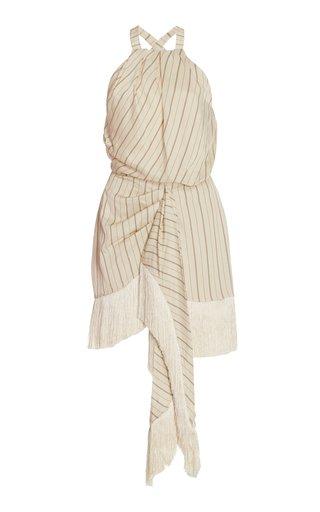 Merina Fringed Striped Twill Mini Wrap Dress