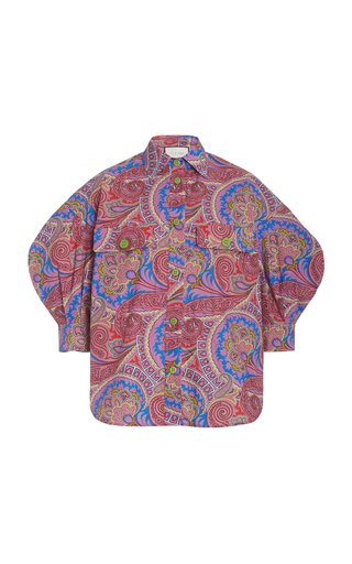 Berwyn Puff-Sleeve Paisley Cotton Top