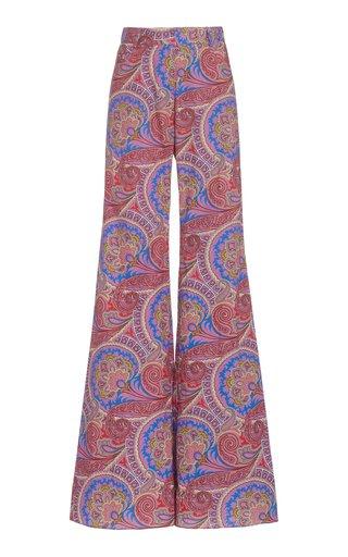 Salima Paisley Cotton-Twill Flared-Leg Pants