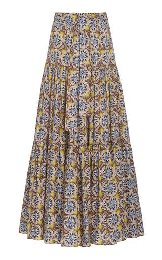 Barina Printed Stretch-Cotton Maxi Skirt