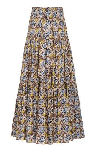 Barina Printed Stretch-Cotton Maxi Skirt