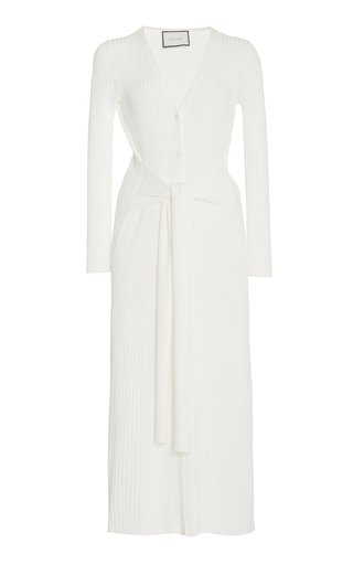 Caitlyn Belted Ribbed-Knit Midi Dress