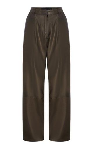 Pleated Leather Straight-Leg Pants