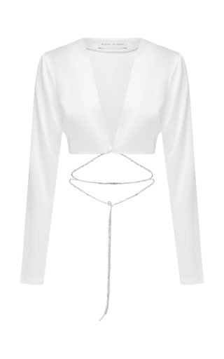 Cropped Tie-Detail Silk Wrap Shirt