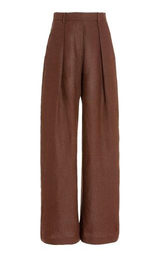 Pleated Linen Straight-Leg Pants