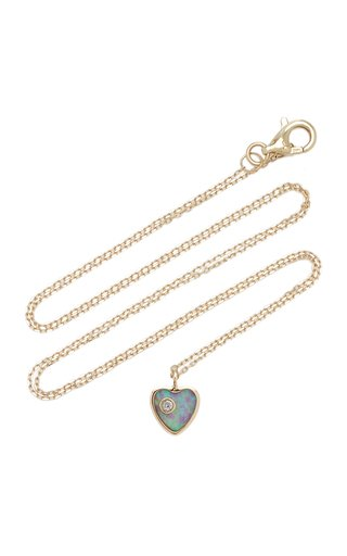 Heart 14K Yellow Gold Opal, Diamond Necklace