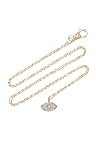 Eye 14K Yellow Gold Opal, Diamond Necklace
