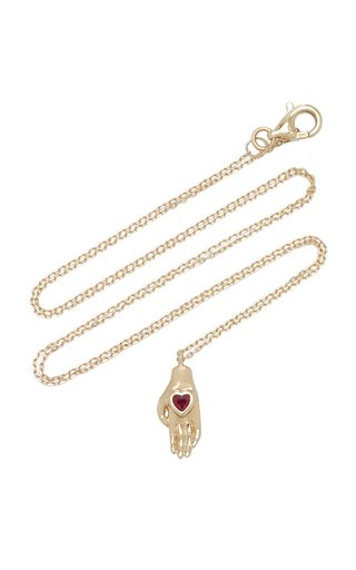 Heart in Hand 14K Yellow Gold Ruby Necklace