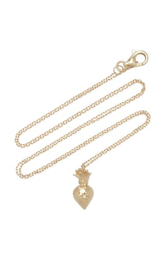 Sacred Heart 14K Yellow Gold Diamond Necklace
