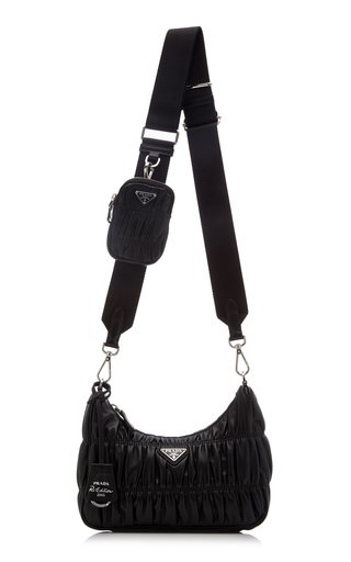 Ruched Spazzolato Leather Crossbody Bag