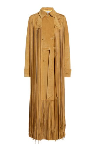 SpecialOrder-Cattell Fringed Suede Double-Breasted Trench Coat-GR