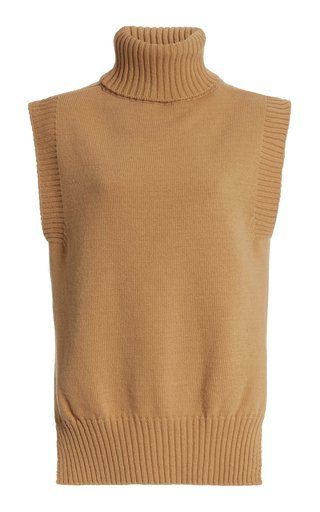 Sleeveless Wool-Blend Turtleneck Top