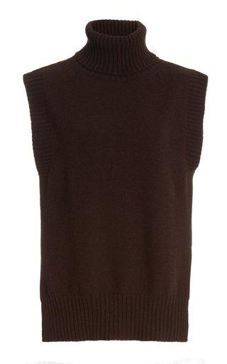 Sleeveless Wool-Blend Turtleneck Top