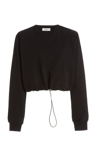 Padded-Shoulder Drawstring Cotton Sweatshirt