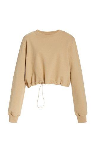 Padded-Shoulder Drawstring Cotton Sweatshirt