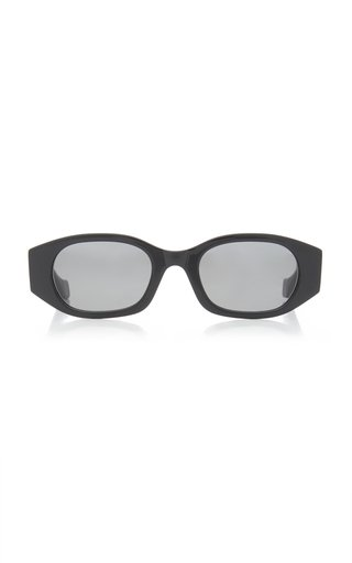 Oblong Oval-Frame Acetate Sunglasses