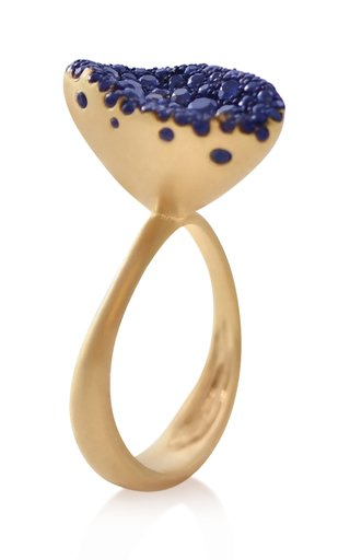 Baby Malak Flourish 18k Gold Blue Sapphire Marquise Ring