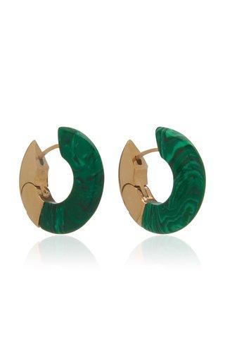 Malachite 18K Gold-Plated Hoop Earrings