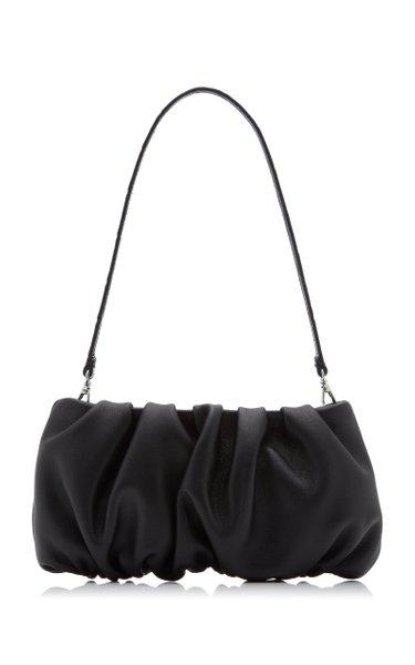 Bean Ruched Leather Shoulder Bag