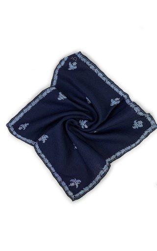 Oxford Blue Kingri Buti Pocket Square