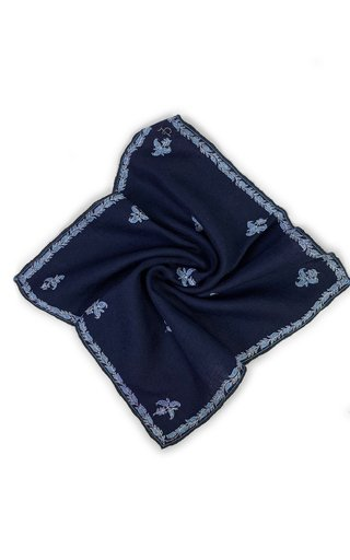 Oxford Blue Kingri Buti Pocket Square