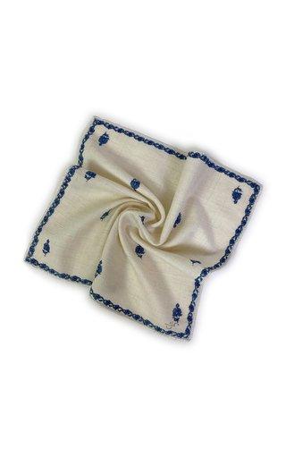 Ivory Blue Kingri Buti Pocket Square