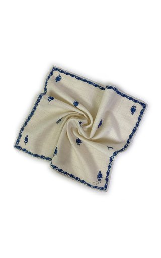 Ivory Blue Kingri Buti Pocket Square