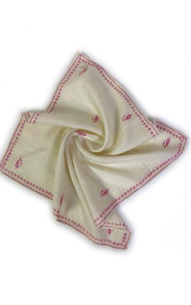 Ivory PInk Kingri Buti Pocket Square