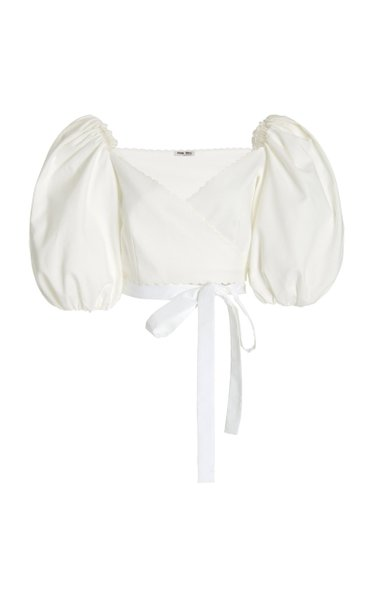 Puff-Sleeve Cotton Pique Cropped Wrap Top