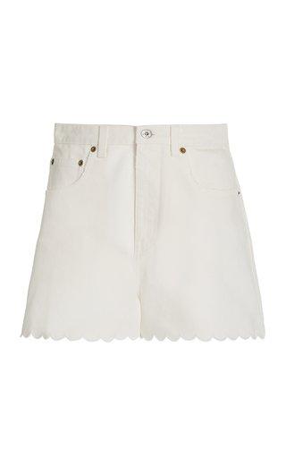 Scalloped Rigid Denim Shorts