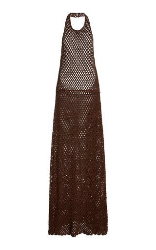 Crochet-Knit Maxi Halter Dress