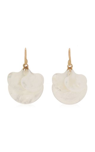 Ginkgo Cluster 14K Yellow Gold Mother-Of-Pearl Earrings