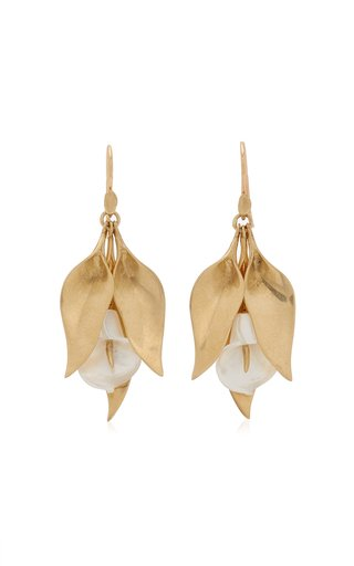Cala Lily Cluster 14K Yellow Gold Mother-Of-Pearl Earrings