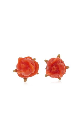 Rose Blossom 18K Yellow Gold Coral Earrings
