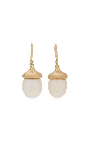 Acorn 14K Yellow Gold Pearl Earrings