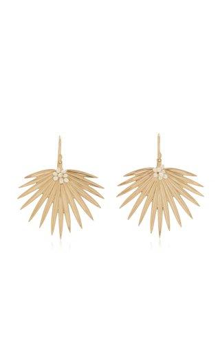 Large Fan Palm 14K Yellow Gold Pearl Earrings