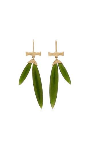 Bamboo 14K Yellow Gold Jade Earrings