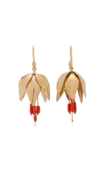 Crown Imperial 14K Yellow Gold Coral Earrings